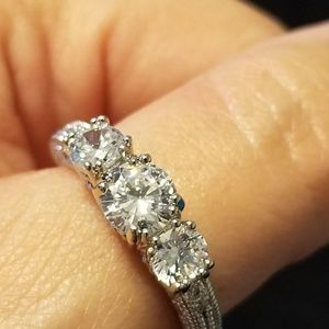 14K White Gold and CZ Ring Size 9